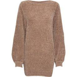 Swetry klasyczne damskie: Długi sweter z szenili bonprix wielbłądzia wełna