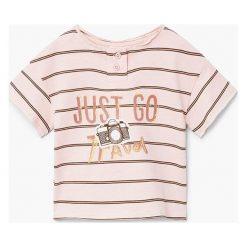 Mango Kids - T-shirt dziecięcy Travel 80-104 cm. Szare t-shirty chłopięce z nadrukiem Mango Kids, z bawełny, z okrągłym kołnierzem. W wyprzedaży za 29,90 zł.