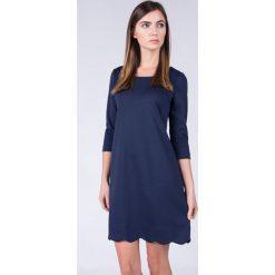 Sukienki: Trapezowa granatowa sukienka z rękawem 3/4 QUIOSQUE