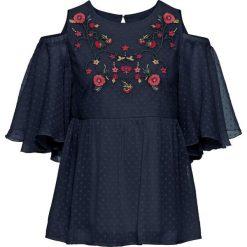 Bluzki damskie: Bluzka z wycięciami i haftem bonprix ciemnoniebieski