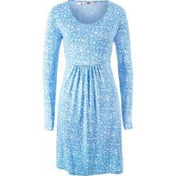 Sukienka shirtowa z długim rękawem bonprix niebieski w kwiaty. Niebieskie sukienki z falbanami marki bonprix, w kwiaty, z długim rękawem. Za 44,99 zł.