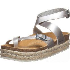Buty damskie: Skórzane klapki w kolorze srebrnym