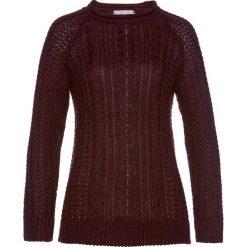 Swetry klasyczne damskie: Sweter we wzór w warkocze bonprix lila-czarny