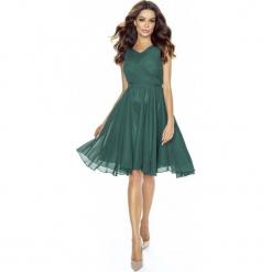 Zielona Sukienka Koktajlowa z Szyfonu. Zielone sukienki balowe marki Molly.pl, na imprezę, l, z satyny, na ramiączkach, dopasowane. Za 198,90 zł.