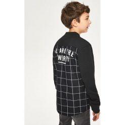 Odzież chłopięca: Koszula z elementami bejsbolowej bluzy - Czarny