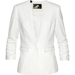 Żakiet z marszczonymi rękawami bonprix biel wełny. Brązowe marynarki i żakiety damskie marki bonprix. Za 74,99 zł.