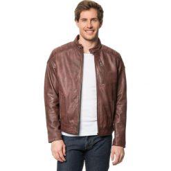 Kurtki męskie bomber: Skórzana kurtka w kolorze brązowym