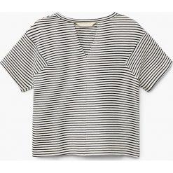 Mango Kids - Top dziecięcy Chapplin 110-164 cm. Szare bluzki dziewczęce bawełniane Mango Kids, z okrągłym kołnierzem, z krótkim rękawem. Za 49,90 zł.