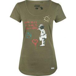 Bluzki damskie: Koszulka w kolorze oliwkowym