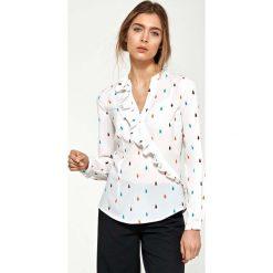 Bluzki, topy, tuniki: Koszulowa Bluzka w Łezki z Asymetryczną Falbanką