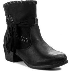 Botki JENNY FAIRY - WS17172-5 Czarny. Czarne buty zimowe damskie Jenny Fairy, z materiału, na obcasie. W wyprzedaży za 83,99 zł.