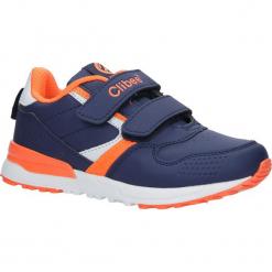 Granatowe buty sportowe na rzepy ze skórzaną wkładką Casu F-696. Szare buciki niemowlęce marki Casu, na rzepy. Za 69,99 zł.