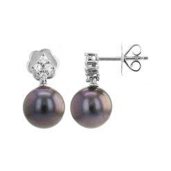Kolczyki damskie: Srebrne kolczyki z perłami Tahiti i cyrkoniami