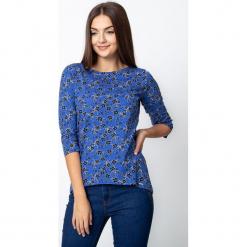 Niebieska bluzka w czarne kwiaty QUIOSQUE. Czarne bluzki longsleeves QUIOSQUE, s, w kwiaty, z jeansu. W wyprzedaży za 59,99 zł.
