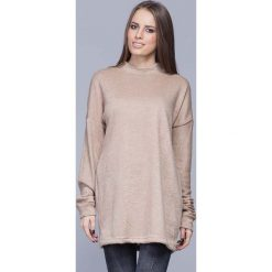 Swetry damskie: Beżowy Oversizowy Długi Sweter z Półgolfem