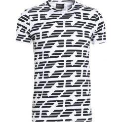 Emporio Armani LOGO ALLOVER Tshirt z nadrukiem bianco ottico. Szare koszulki polo marki Emporio Armani, l, z bawełny, z kapturem. Za 379,00 zł.