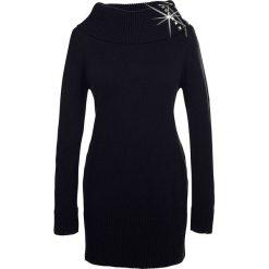 Golfy damskie: Długi sweter bonprix czarny