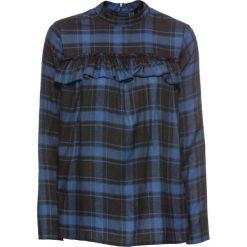 Bluzki asymetryczne: Bluzka z falbanami bonprix ciemnoniebieski w kratę