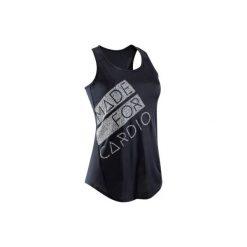 Top fitness kardio 120 damski. Czarne bluzki sportowe damskie marki DOMYOS, z elastanu. W wyprzedaży za 19,99 zł.