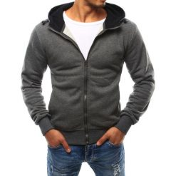Bluzy męskie: Bluza męska z kapturem rozpinana antracytowa (bx2398)