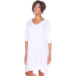 """Sukienki hiszpanki: Lniana sukienka """"Louna"""" w kolorze białym"""
