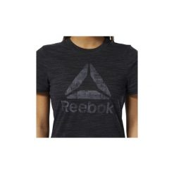 T-shirty z krótkim rękawem Reebok Sport  Koszulka Training Essentials Marble Logo. Czarne bluzki sportowe damskie Reebok Sport, xl, z krótkim rękawem. Za 99,95 zł.