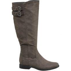 Kozaki damskie Graceland szarobrązowe. Brązowe buty zimowe damskie marki Graceland, z materiału, na obcasie. Za 125,00 zł.