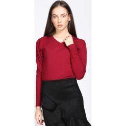 Bordowy Sweter Just A Drop. Czerwone swetry klasyczne damskie Born2be, xl, z dzianiny, z dekoltem w serek. Za 59,99 zł.