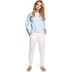Bluzy damskie: Błękitna Bluza Nietoperzowa z Gumką na Dole