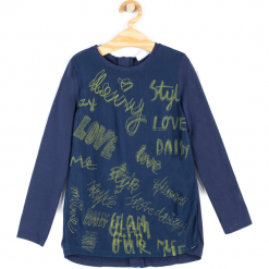 Koszulka. Niebieskie bluzki dziewczęce bawełniane marki Style. Za 29,90 zł.