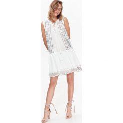 Sukienki: SUKIENKA DAMSKA Z KORALIKAMI, Z NADRUKIEM