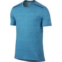 T-shirty męskie: koszulka do biegania męska NIKE DRI-FIT COOL TAILWIND STRIPE SHORT SLEEVE / 724809-418 – NIKE DRI-FIT COOL TAILWIND STRIPE SHORT SLEEVE