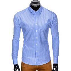 KOSZULA MĘSKA W KRATĘ Z DŁUGIM RĘKAWEM K426 - BŁĘKITNA/BIAŁA. Białe koszule męskie Ombre Clothing, m, z długim rękawem. Za 49,00 zł.