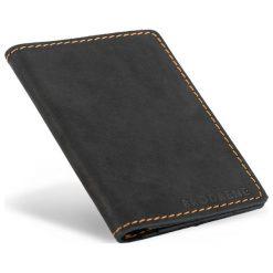 Portfele męskie: Skórzany portfel SLIM wallet BRODRENE Czarny