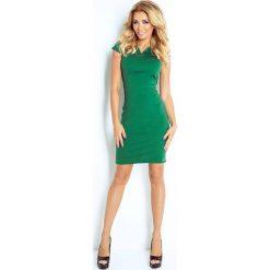 Sukienki: Zielona Sukienka Klasyczna Dopasowana z Zakładkami