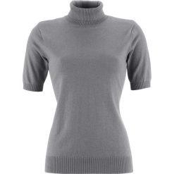 Golfy damskie: Sweter z golfem, krótki rękaw bonprix szary melanż