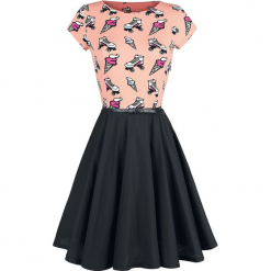Pussy Deluxe Ice Cream Love Dress Sukienka czarny/różowy. Różowe sukienki marki numoco, l, z dekoltem w łódkę, oversize. Za 99,90 zł.