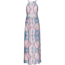 Sukienki: Długa sukienka bonprix piaskowy z nadrukiem
