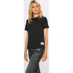 Calvin Klein Jeans - Top. Czarne topy damskie marki Calvin Klein Jeans, s, z bawełny, z okrągłym kołnierzem. W wyprzedaży za 139,90 zł.
