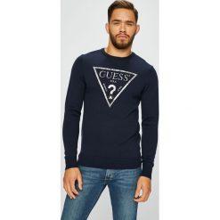 Guess Jeans - Sweter. Czarne swetry klasyczne męskie Guess Jeans, m, z aplikacjami, z dzianiny, z okrągłym kołnierzem. Za 399,90 zł.