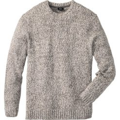 Sweter z okrągłym dekoltem Regular Fit bonprix szary melanż. Szare swetry klasyczne męskie marki bonprix, l, melanż, z dzianiny, z okrągłym kołnierzem. Za 59,99 zł.