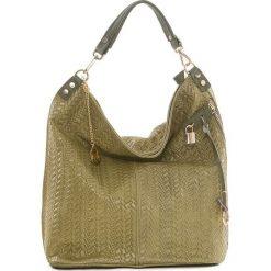 Torebki klasyczne damskie: Skórzana torebka w kolorze oliwkowym – 42 x 38 x 17 cm