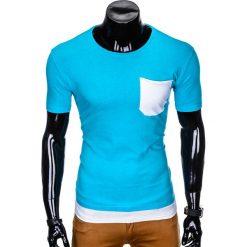 T-SHIRT MĘSKI BEZ NADRUKU S963 - TURKUSOWY. Czarne t-shirty męskie z nadrukiem marki Ombre Clothing, m, z bawełny, z kapturem. Za 29,00 zł.