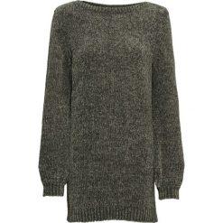 Długi sweter z szenili bonprix ciemnooliwkowy. Zielone swetry klasyczne damskie bonprix, z materiału, z dekoltem w serek. Za 69,99 zł.