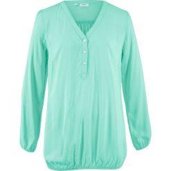 """Bluzka z dekoltem """"henley"""", długi rękaw bonprix jasny miętowy. Zielone bluzki asymetryczne bonprix, z kołnierzem typu henley, z długim rękawem. Za 32,99 zł."""