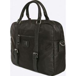 Trussardi Jeans - Torba Brooklin. Czarne torby na laptopa marki Trussardi Jeans, w paski, z jeansu. W wyprzedaży za 359,90 zł.