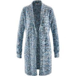 Długi sweter rozpinany, długi rękaw bonprix szaroniebieski melanż. Niebieskie kardigany damskie bonprix. Za 89,99 zł.