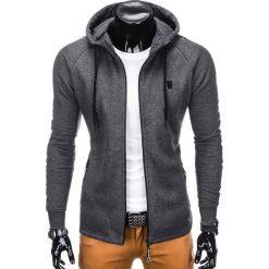 BLUZA MĘSKA ROZPINANA Z KAPTUREM B741 - GRAFITOWA. Szare bluzy męskie rozpinane marki Ombre Clothing, m, z bawełny, z kapturem. Za 69,00 zł.