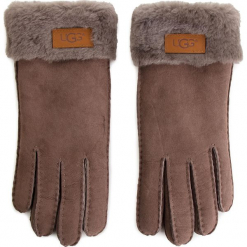 Rękawiczki Damskie UGG - W Turn Cuff Glove 17369 Stormy Grey. Szare rękawiczki damskie marki Ugg, z materiału, z okrągłym noskiem. Za 639,00 zł.