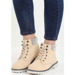 Beżowe Traperki Riverdale. Brązowe buty zimowe damskie Born2be, z materiału, z okrągłym noskiem, na niskim obcasie. Za 89,99 zł.